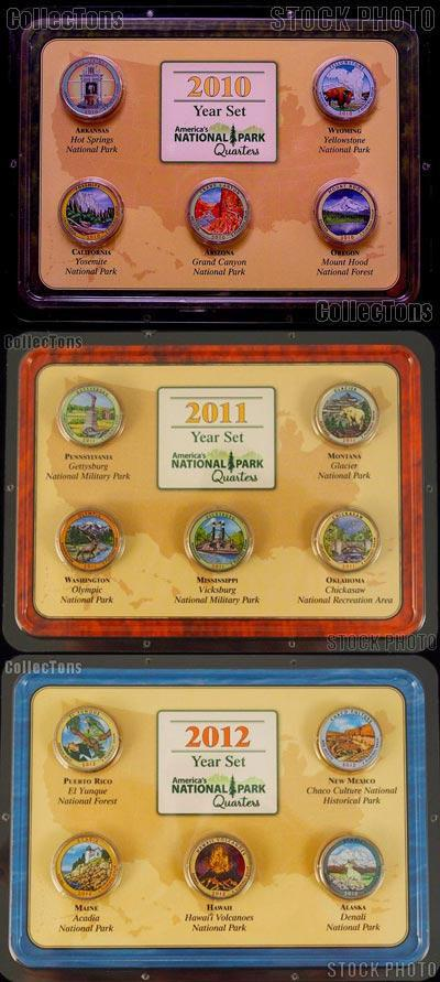 Colored Quarters 2010-2012 National Park Colorized Quarter 3 Year Set