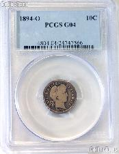 1894-O Barber Liberty Head Silver Dime in PCGS G 04