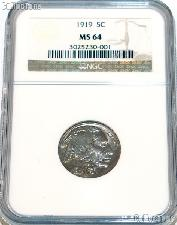 1919 Buffalo Nickel in NGC MS 64