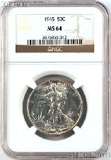 1945 Walking Liberty Silver Half Dollar in NGC MS 64