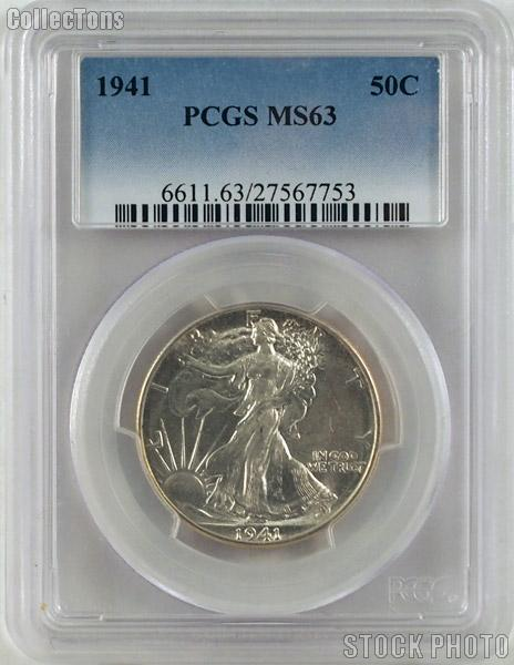 1941 Walking Liberty Half Silver Dollar in PCGS MS 63