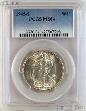 1945-S Walking Liberty Silver Half Dollar in PCGS MS 64+