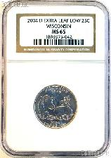 """2004-D """"Extra Leaf Low"""" Wisconsin Quarter in NGC MS 65"""