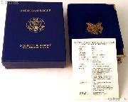 1987 American Eagle 1/2 oz Proof $25 Gold Bullion Coin OGP Replacement Box and COA