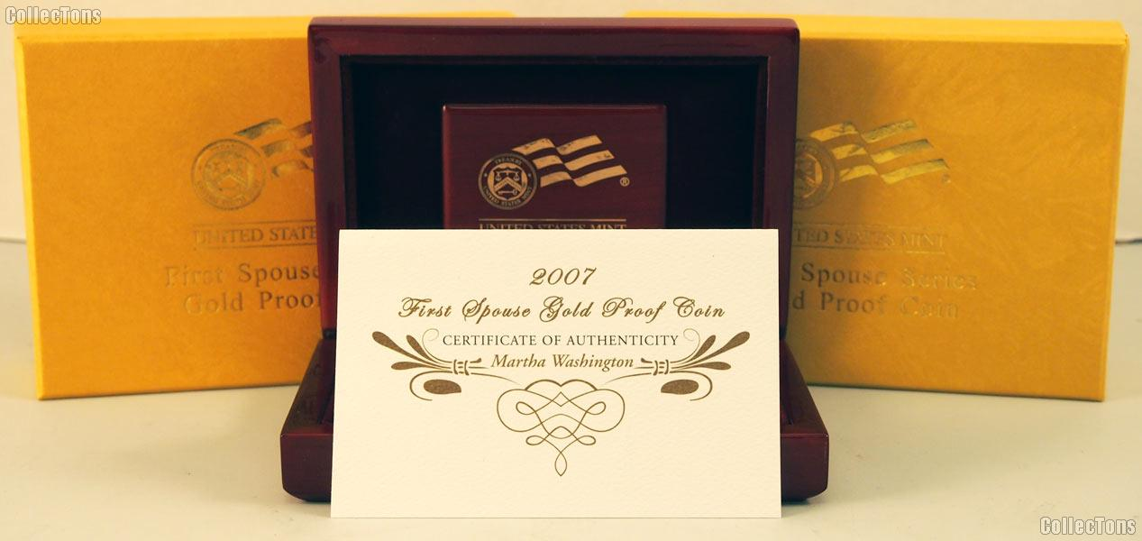 2007 Martha Washington First Spouse Series Gold  Proof Coin OGP Replacement Box and COA