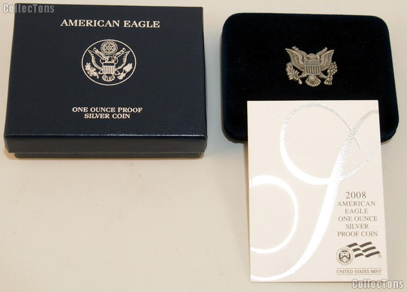 2008-W American Silver Eagle 1 oz Proof Silver Coin OGP Replacement Box and COA