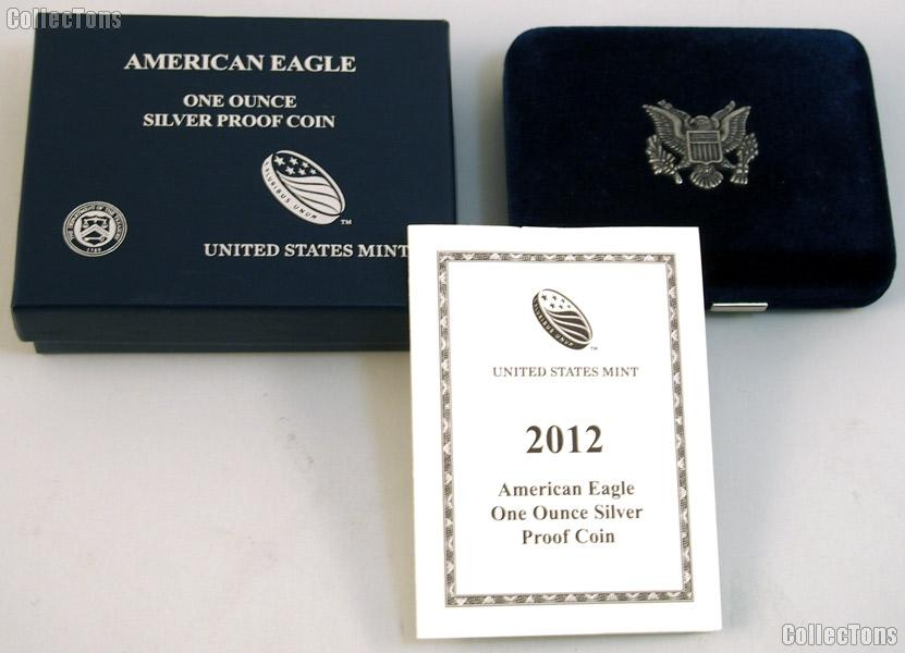 2012-W American Silver Eagle 1 oz Silver Proof Coin OGP Replacement Box and COA