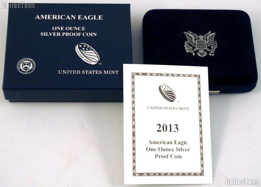 2013-W American Silver Eagle 1 oz Silver Proof Coin OGP Replacement Box and COA