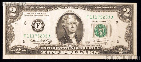 Two Dollar Bill Green Seal FRN Series 1976 US Currency Good or Better