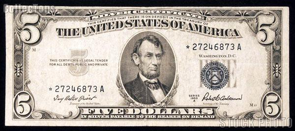 Five Dollar Bill Silver Certificate STAR NOTE Series 1953 US ...
