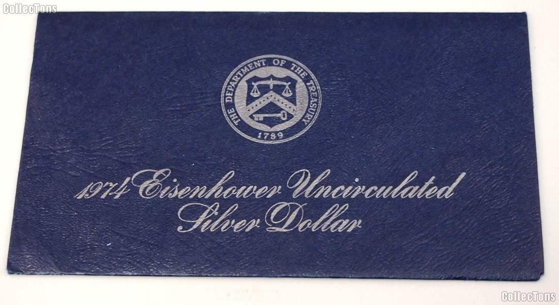1974 Blue Eisenhower Ike Uncirculated Silver Dollar OGP Replacement Envelope