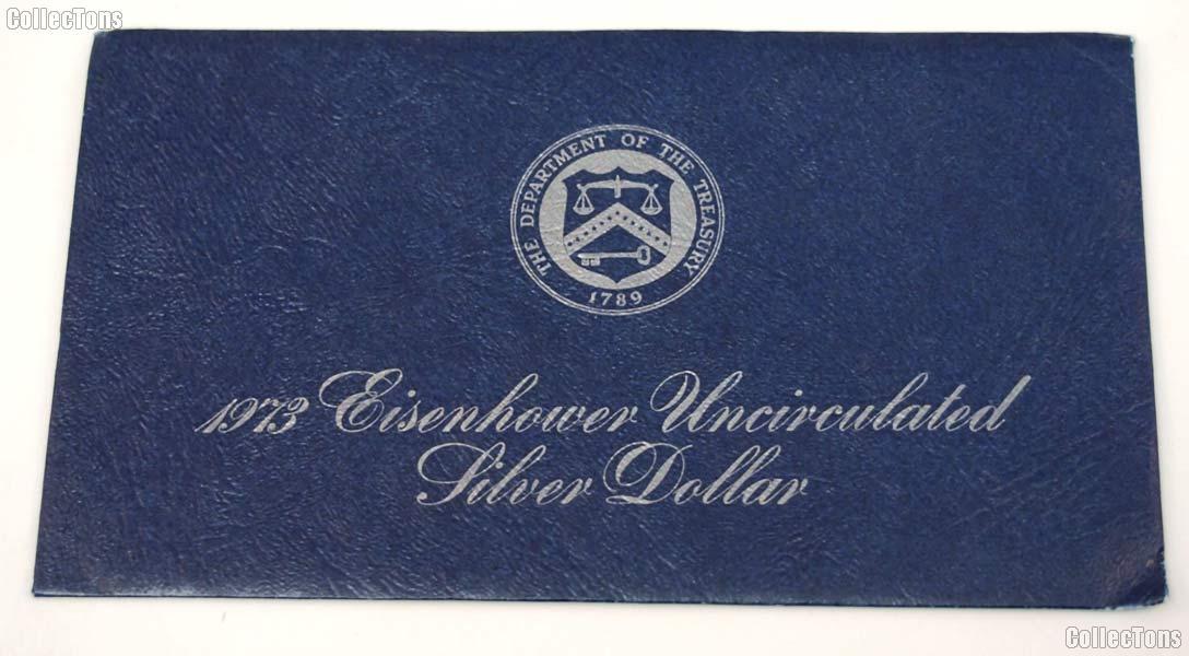 1973 Blue Eisenhower Ike Uncirculated Silver Dollar OGP Replacement Envelope