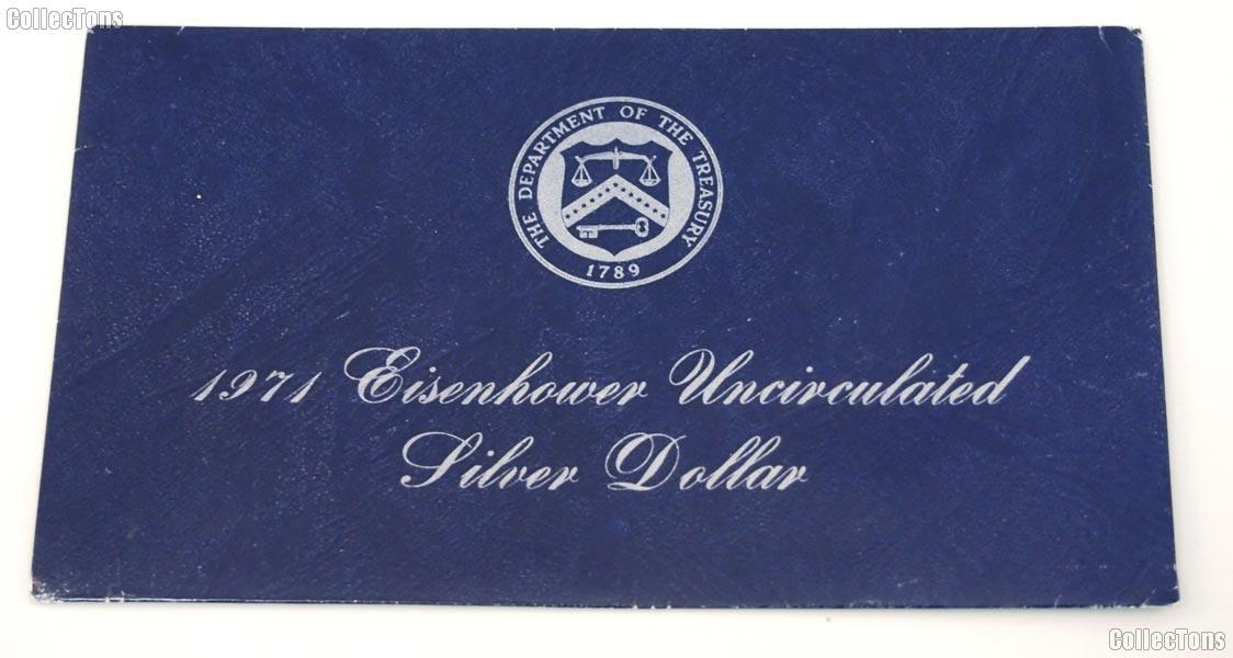 1971 Blue Eisenhower Ike Uncirculated Silver Dollar OGP Replacement Envelope