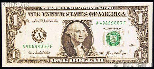One Dollar Bill Federal Reserve Note Series 2006 Federal Reserve Bank of Boston U.S. Currency CU Crisp Uncirculated