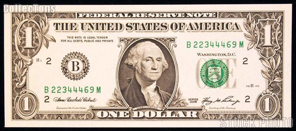 One Dollar Bill Federal Reserve Note Series 2006 Bank Of New York U S Currency