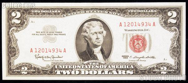 Two Dollar Bill Red Seal Series 1963 US Currency CU Crisp Uncirculated