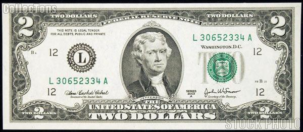 Two Dollar Bill Green Seal FRN Series 2003 US Currency CU Crisp Uncirculated