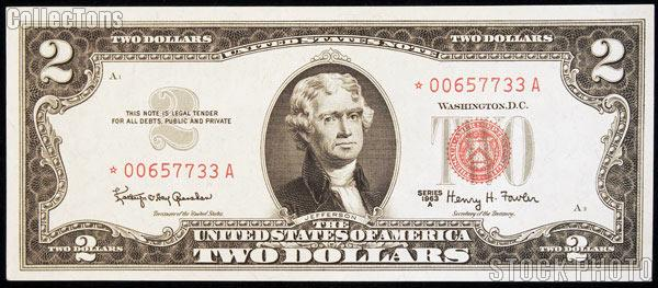 Two Dollar Bill Red Seal STAR NOTE Series 1963 US Currency CU Crisp Uncirculated