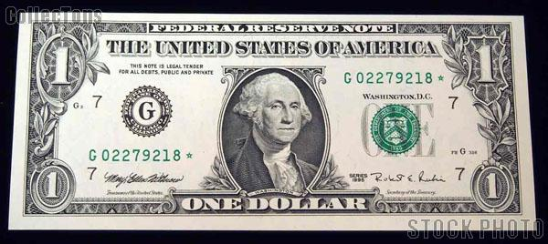 One Dollar Bill Green Seal FRN STAR NOTE Series 1995 US Currency CU Crisp Uncirculated