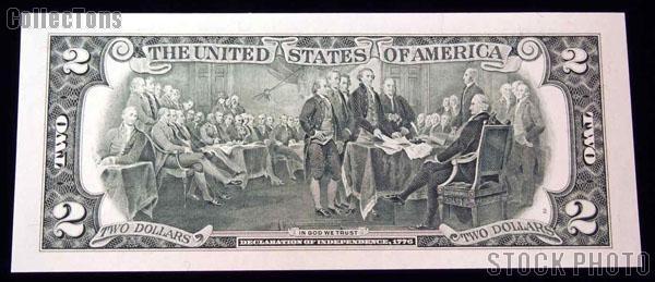 Two Dollar Bill Green Seal FRN Series 1995 US Currency CU Crisp Uncirculated