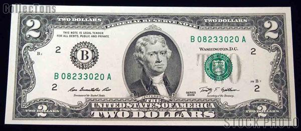 Two Dollar Bill Green Seal FRN Series 2009 US Currency CU Crisp Uncirculated