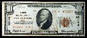 Ten Dollar Bill National Bank Note Brown Seal US Currency