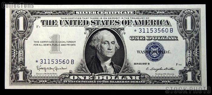 One Dollar Bill Silver Certificate STAR NOTE Series 1957 US Currency ...