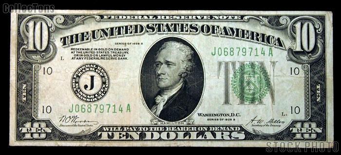 Ten Dollar Bill Green Seal FRN Series 1928 US Currency Good or Better
