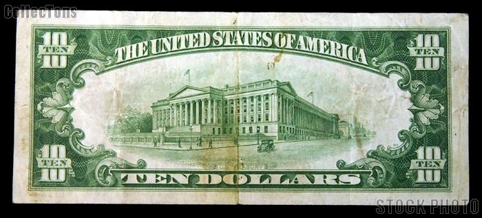 Ten Dollar Bill Green Seal FRN Series 1928 US Currency