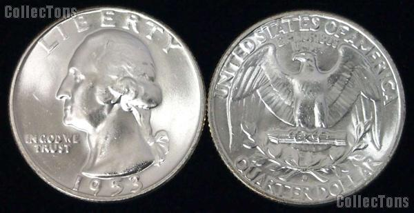 Washington Silver Quarter (1932-1964) 5 Different Coin Lot Brilliant Uncirculated Condition
