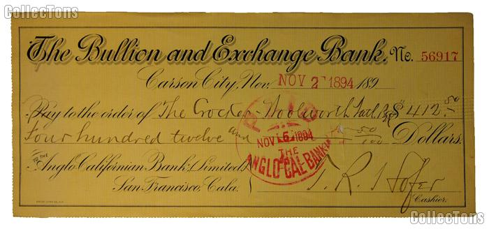 Bank Check from The Bullion and Exchange Bank signed by Theodore Hofer 7th Superintendent of Carson City Mint