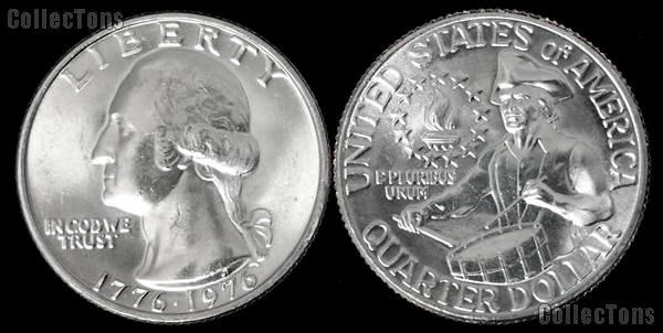 1976 Washington BICENTENNIAL Silver Clad Quarter One Coin Brilliant Uncirculated Condition