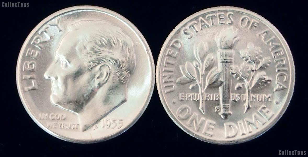 Roosevelt Silver Dime (1946-1964) $1 Face Value Lot of 10 Different Coins Brilliant Uncirculated Condition