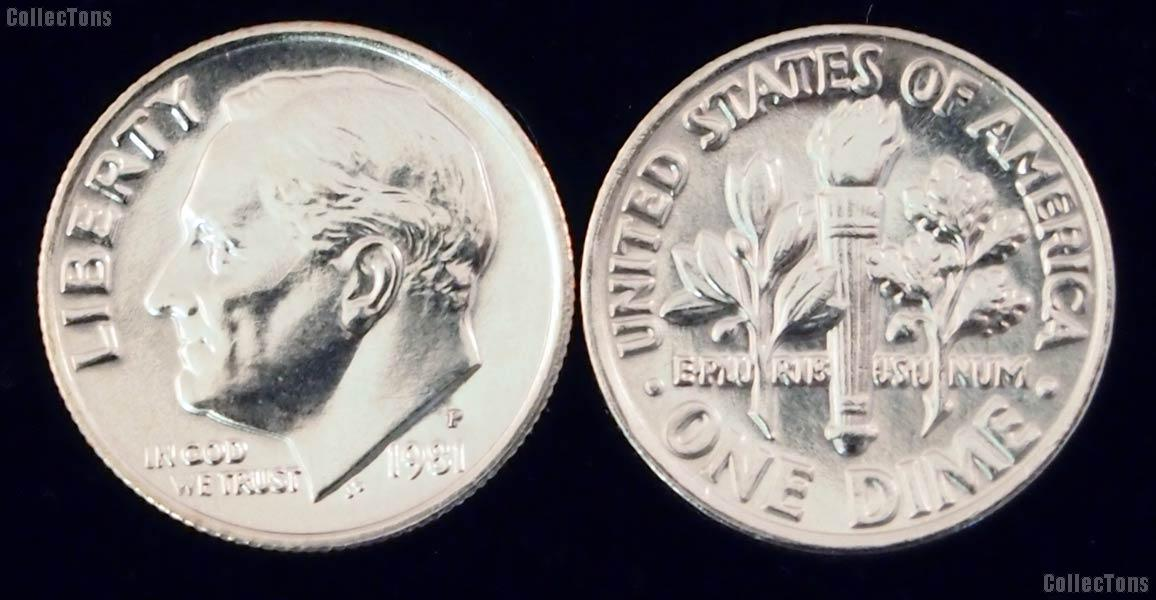 Roosevelt Dime (1965-Date) 5 Different Coin Lot Brilliant Uncirculated Condition