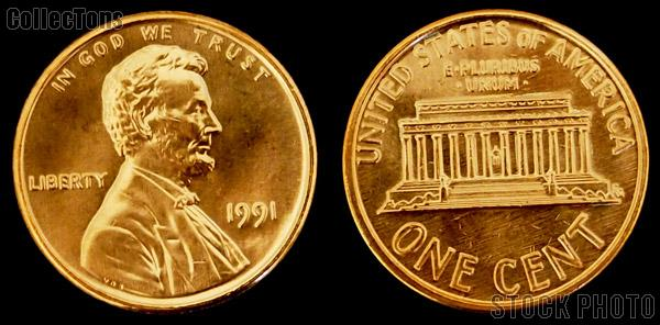 Lincoln Memorial Cent Copper-Plated Zinc (1982-2008) 5 Different Coin Lot Brilliant Uncirculated Condition
