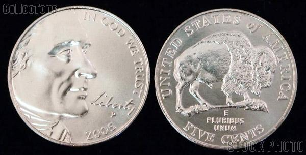 Jefferson Nickel AMERICAN BISON Design from Westward Journey Series (2005) One Coin Brilliant Uncirculated Condition