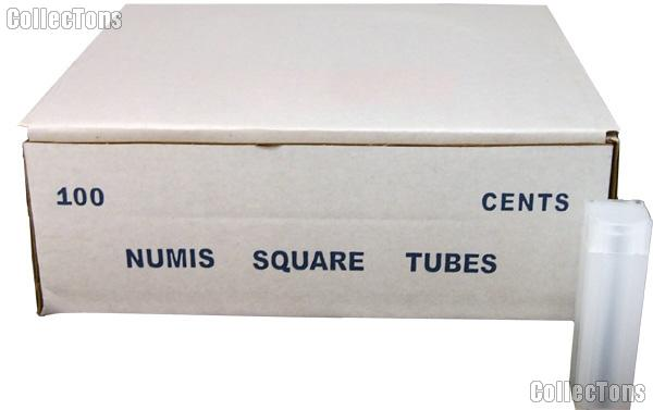 100 Coin Tubes for CENTS by Numis Square Plastic Coin Tubes for 50 Cents