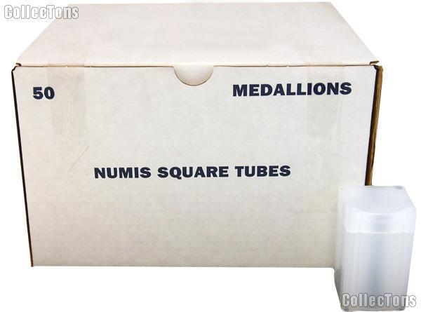 Coin Tube for MEDALLIONS by Numis Square Plastic Coin Tube for 20 1oz Silver Rounds