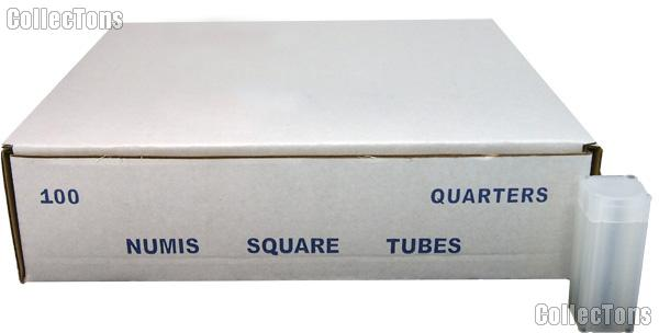 100 Coin Tubes for QUARTERS by Numis Square Plastic Coin Tubes for 40 Quarters