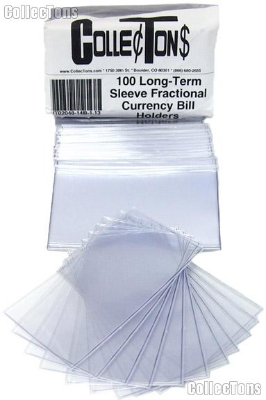 100 Long-Term Sleeve Fractional Currency Bill Holders