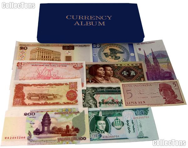 World Currency Starter Set with 10 Bills from 10 Different Countries in Currency Wallet