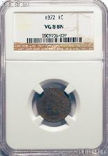 1872 Indian Head Cent KEY DATE in NGC VG 8 BN (Brown)