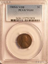 1909-S VDB Lincoln Wheat Cent KEY DATE in PCGS VG 10