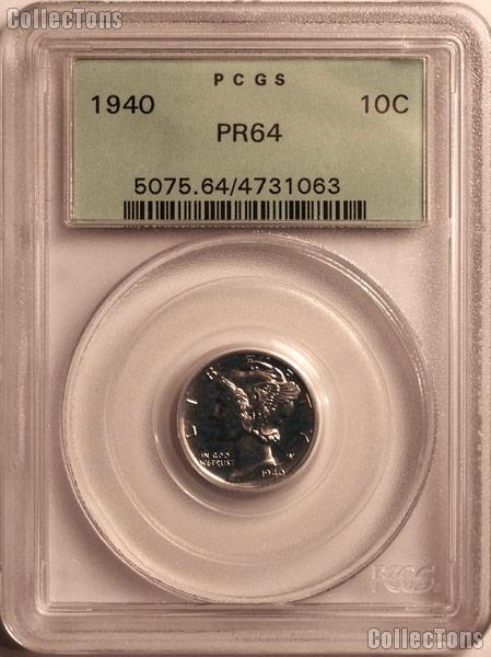 1940 Mercury Silver Dime PROOF in PCGS PR 64