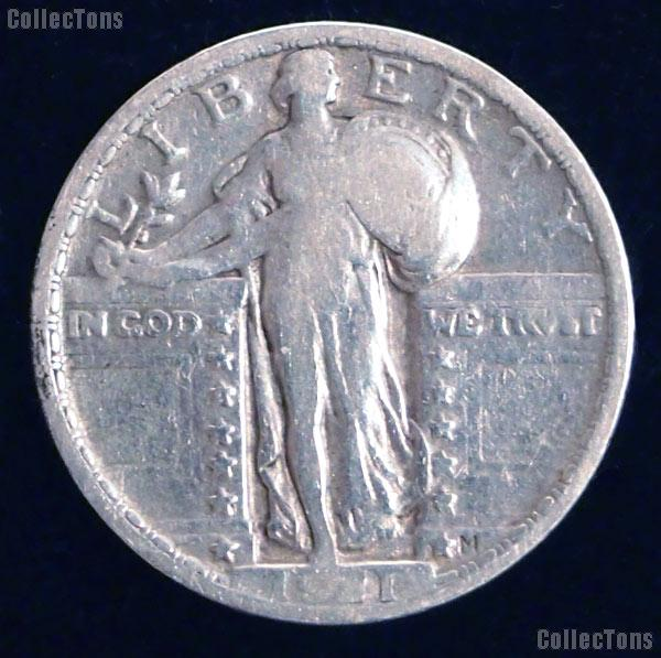 1921 Standing Liberty Silver Quarter Circulated Coin G 4 or Better