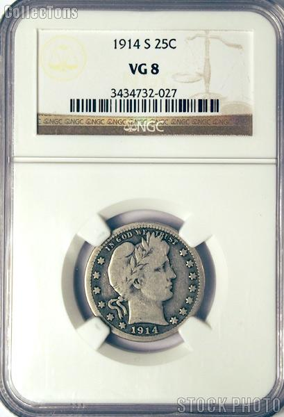 1914-S Barber Liberty Head Silver Quarter in NGC VG 8