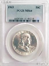 1963 Franklin Silver Half Dollar in PCGS MS 64