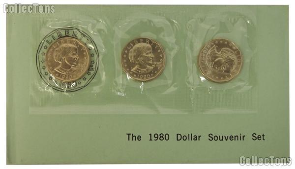 1980 BU Susan B. Anthony Souvenir Set - 3 Coin SBA PDS Set