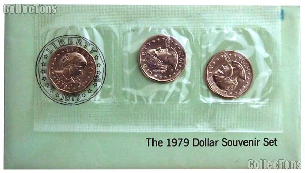 1979 BU Susan B. Anthony Souvenir Set - 3 Coin SBA PDS Set