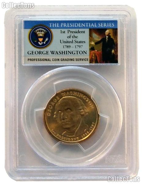 2007 Washington Presidential Dollar Missing Edge Lettering Mint Error Coin in Presidential Series PCGS MS 65
